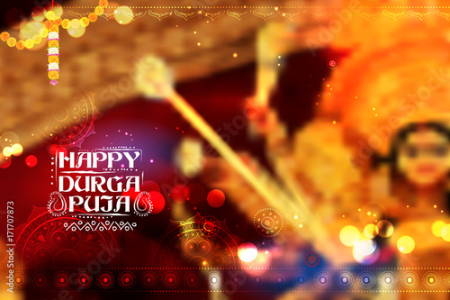 Goddess durga in happy dussehra background with bengali text sharod goddess durga in happy dussehra background with bengali text sharod shubhechha meaning autumn greetings m4hsunfo