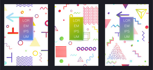 Covers with minimal design. Memphis geometric backgrounds. Banners, Placards, Posters, Flyers in retro 80s, 90s style. Eps10 vector