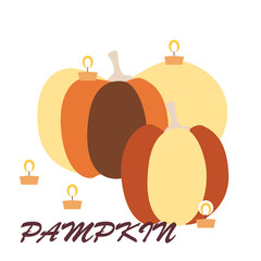 Square card with two huge pumpkins with burning candles around and inscription isolated on a white background