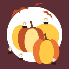 Square card with huge pumpkins, burning candles and bats on a circular substrate and colored background