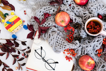 Autumn, fall leaves, hot steaming cup of coffee and a warm scarf, watch the concept of the changing of the season, apples, grey knitted plaid on wooden table background. still life concept.