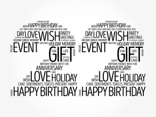 Happy 22nd birthday word cloud collage concept