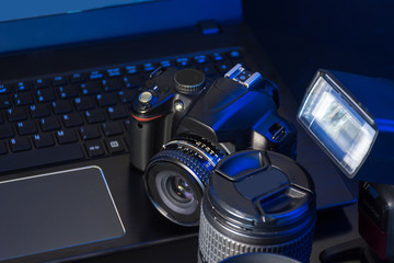 Studio Photography with computers, cameras and flash