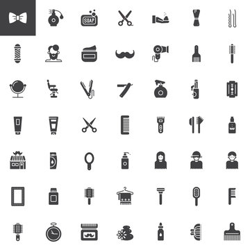 Barber shop vector icons set, modern solid symbol collection, filled pictogram pack. Signs, logo illustration. Set includes icons as brush, hair pin, comb, hairbrush, razor, beard, scissors