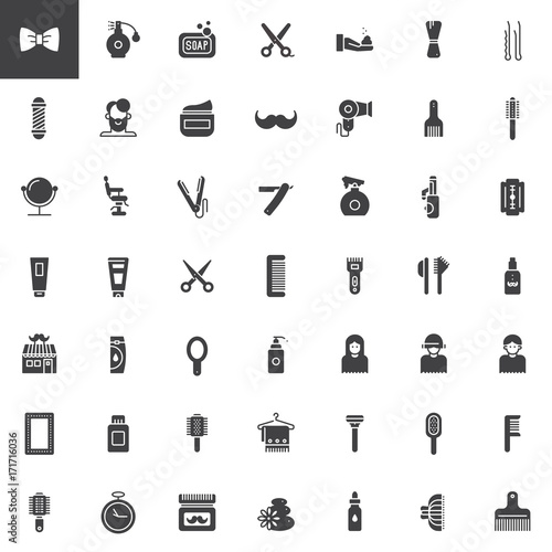 Barber shop vector icons set, modern solid symbol collection