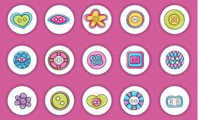 Sewing buttons handmade craft icons concept  cartoon doodles sticker design. Hand drawn colorful vector illustration collection.