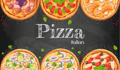 Pizza menu chalkboard cartoon background with fresh ingredients vector illustration Pizzeria flyer vector background. Two horizontal banners with ingredients text on wooden background and blackboard