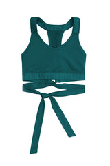 teal sports bra with ribbon band isolated on white background