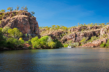 A small river boat at Katherine Gorge, Northern Territory, Australia