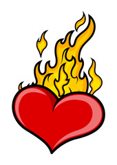 Burning Heart Vector tattoo vector illustration