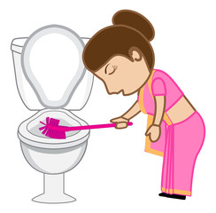Indian Cartoon Woman Cleaning Toilet