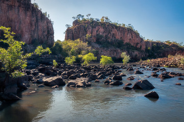 Rocks and trees blocking the river at Katherine Gorge, Northern Territory, Australia