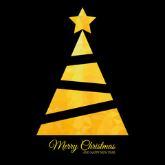 gold tree on black background Christmas card