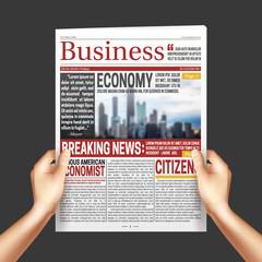Newspaper In Hands Realistic Templatte