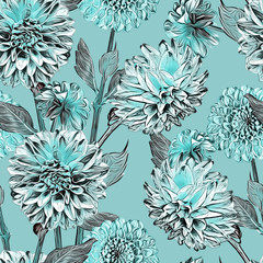 Dahlias seamless pattern. Hand drawn Illustration.
