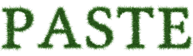 Paste - 3D rendering fresh Grass letters isolated on whhite background.