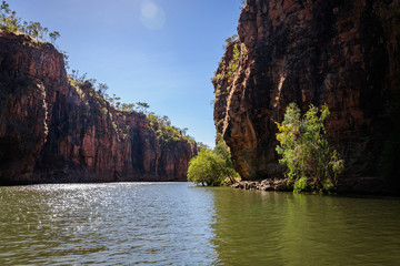 Impressive Sandstone Cliffs at Katherine River Gorge Cruise, one of the best attractions in Nitmiluk National Park, Northern Territory, Australia.