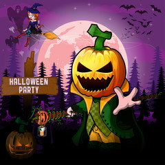 Halloween Party Design template with Pumpkin Cartoon Characters