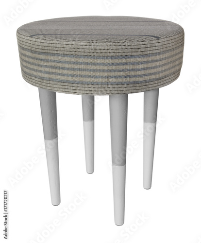 Wondrous Handmade Stool Wooden Gray And White Round Seat With Gray Ibusinesslaw Wood Chair Design Ideas Ibusinesslaworg