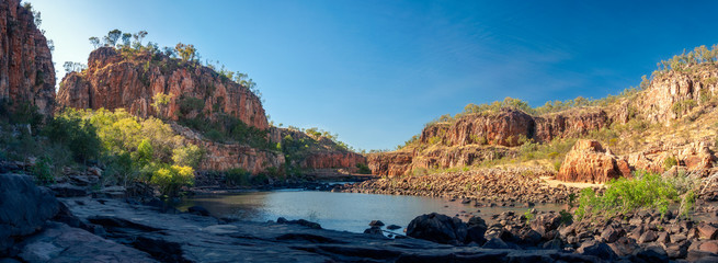 Katherine River Gorge panorama in Nitmiluk National Park, Northern Territory, Australia.