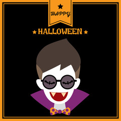 Happy Halloween background design with cute vampire having fang put on sunglasses.