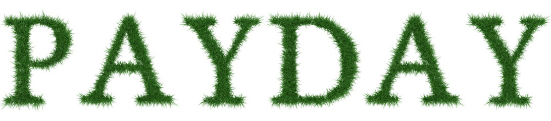 Payday - 3D rendering fresh Grass letters isolated on whhite background.
