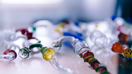 glass bongs for smoking weed close-up soft focus. smoking accessories marijuana