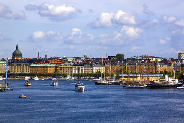 Scenic summer panorama of the Old Town (Gamla Stan) pier architecture in Stockholm, Sweden