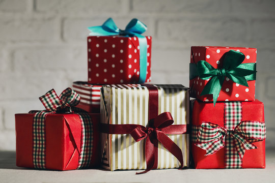 Beautifully wrapped presents in studio