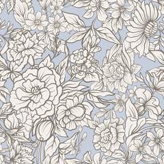 Vintage flowers seamless pattern. Stock illustration.