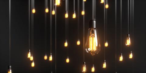 viele Edison Glühbirnen hängen im Raum und leuchten mit warmem Licht