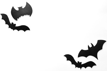 Halloween background, black bats on white background,hand made fall decor.