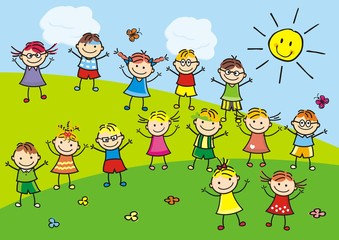 Happy kids on meadow, vector illustration
