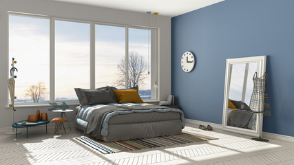 Colored modern white and blue bedroom with big panoramic window, sunset, sunrise, architecture minimalist interior design