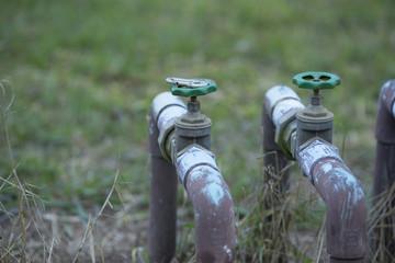 Garden faucet, Natural background