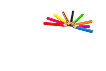 Multicolored pencils isolated on white background.