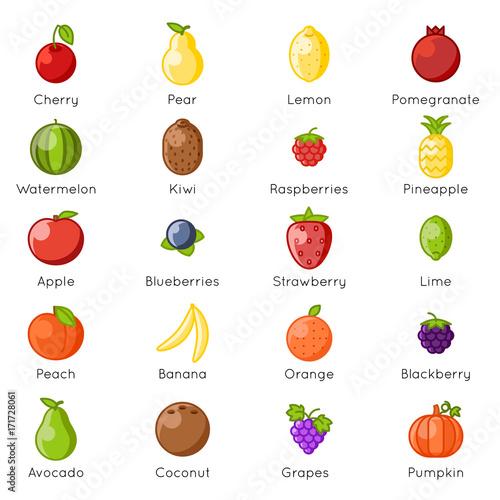 Fresh fruit healthy food natural vitamins cartoon lineart