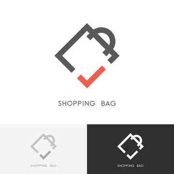 Shopping bag logo - package or packet with red check mark or tick symbol. Pack, store and shop vector icon.