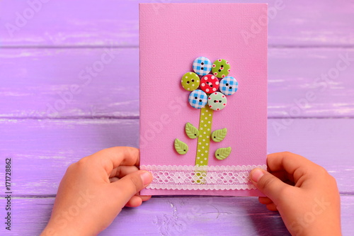 Child Holds A Flower Card In His Hands Made Greeting For Mom Or Dad Birthday Mothers Day Fathers Gift Idea How To Make