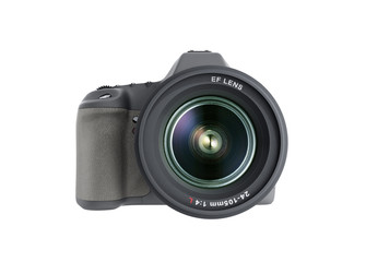 photo camera 3d render on white background