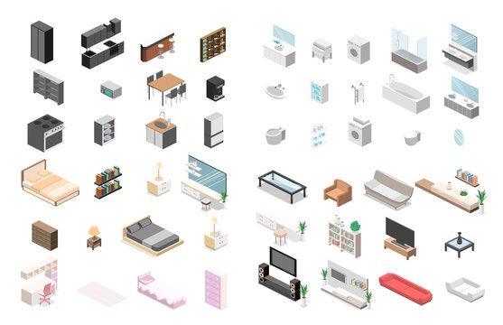 Furniture Constructor for creating a bathroom, living room, bedroom, kitchen