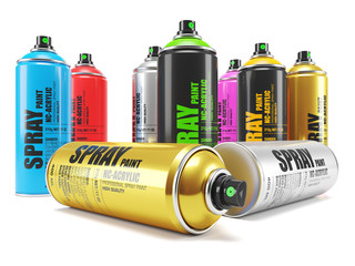 Group of color paint cans