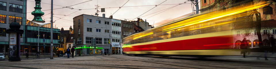 Blurred tram in the center of Bratislava, Slovakia
