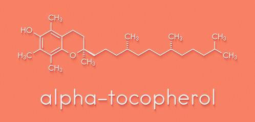 Vitamin E (alpha tocopherol) molecule. Skeletal formula.