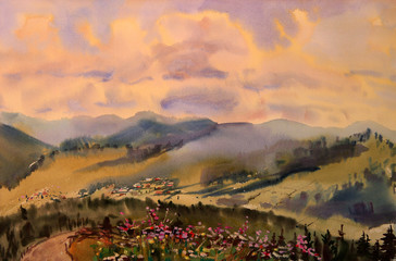 Watercolor painting mountain landscape