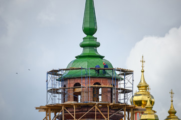 Reconstruction of the Pyatnitskaya tower of the Sergiyev Posad monastery (Trinity Lavra of St. Sergius). Sergiyev Posad, Golden Ring, Russia