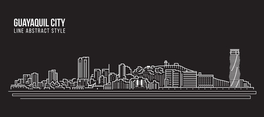 Cityscape Building Line art Vector Illustration design - Guayaquil city