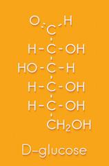 Glucose (D-glucose, dextrose) grape sugar molecule. Skeletal formula.
