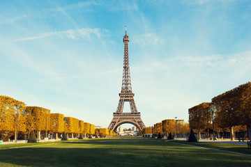 View on Paris and Eiffel tower with Blue sky with clouds in autumn at Paris, France..