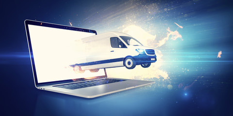 White cargo van jumping out of a notebook screen for express delivery after online shopping